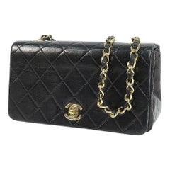 CHANEL Mini matelasse19 full flap Womens shoulder bag black x gold hardware