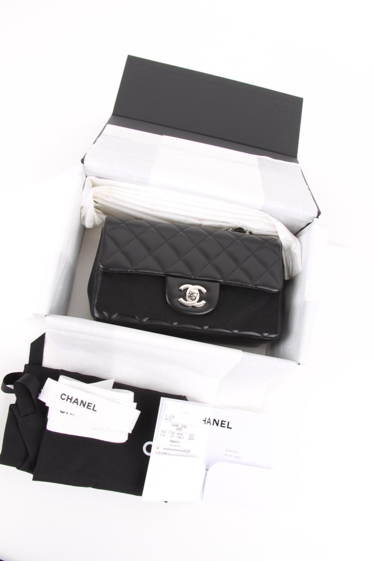 COLOR: Black MATERIAL: Lmabskin leather HARDWARE: Silver CONDITION: New Store Fresh  COMES WITH: Full Chanel Set MEASURES: B 20 cm, H 12 cm, D 7 cm. ORGIN: France AVAILABILITY: ready to ship
