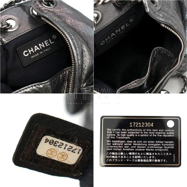 Chanel Mini Silver Split-Zip Backpack 6