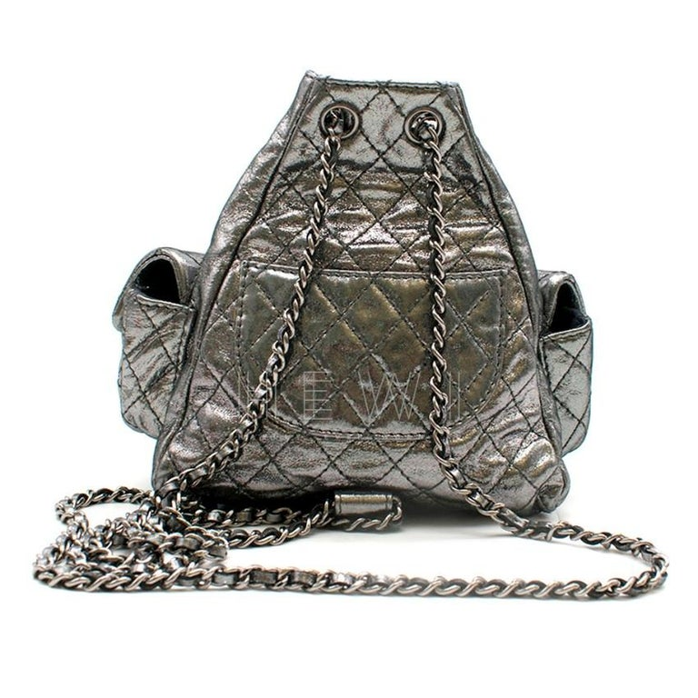 Chanel Mini Silver Split-Zip Backpack In Excellent Condition In London, GB