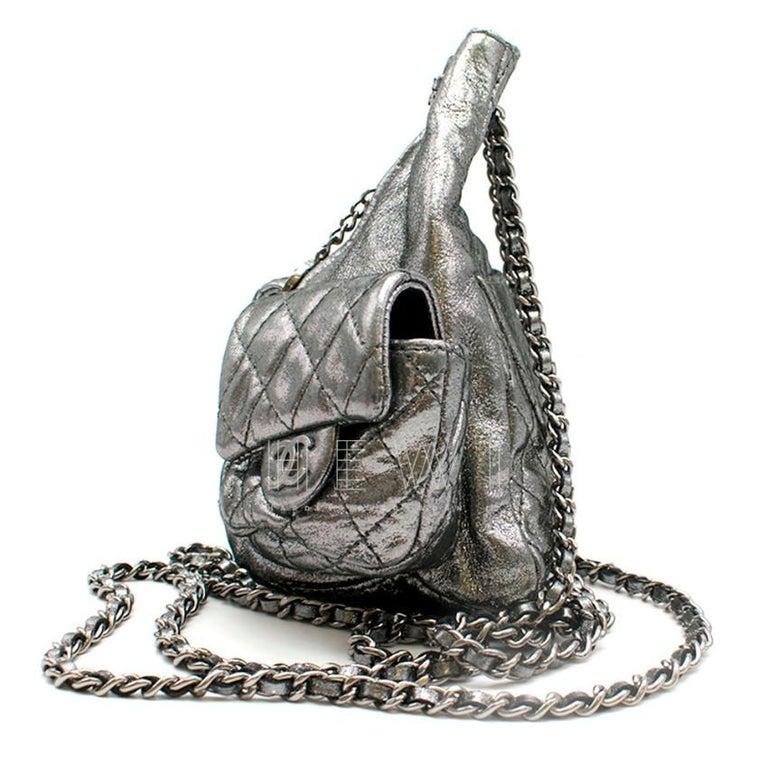 Women's Chanel Mini Silver Split-Zip Backpack