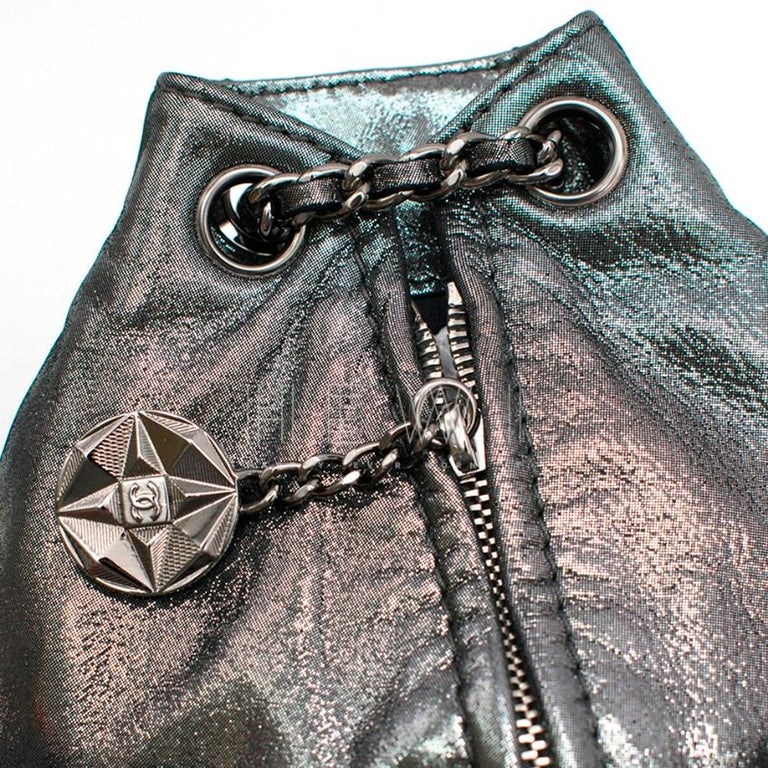Chanel Mini Silver Split-Zip Backpack 3