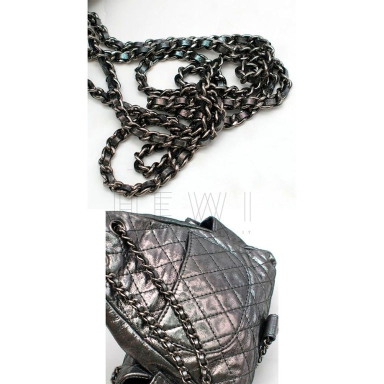 Chanel Mini Silver Split-Zip Backpack 4