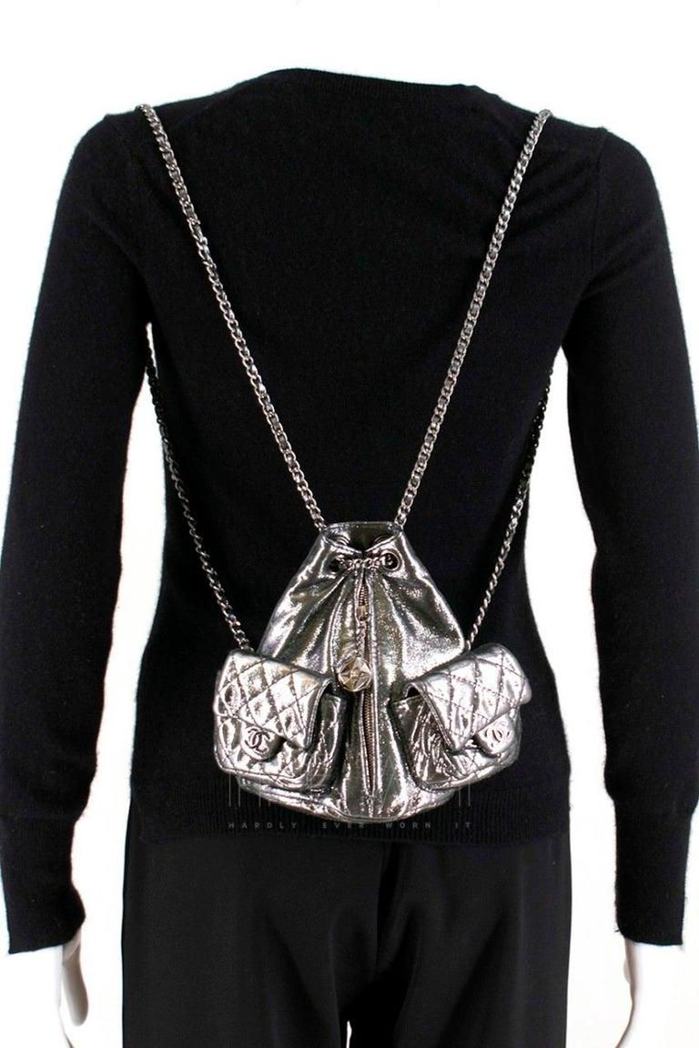 Chanel Mini Silver Split-Zip Backpack 5