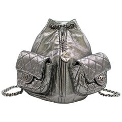 Chanel Mini Silver Split-Zip Backpack
