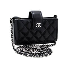 CHANEL Mini Small Chain Shoulder Bag Black Crossbody Quilted Leather