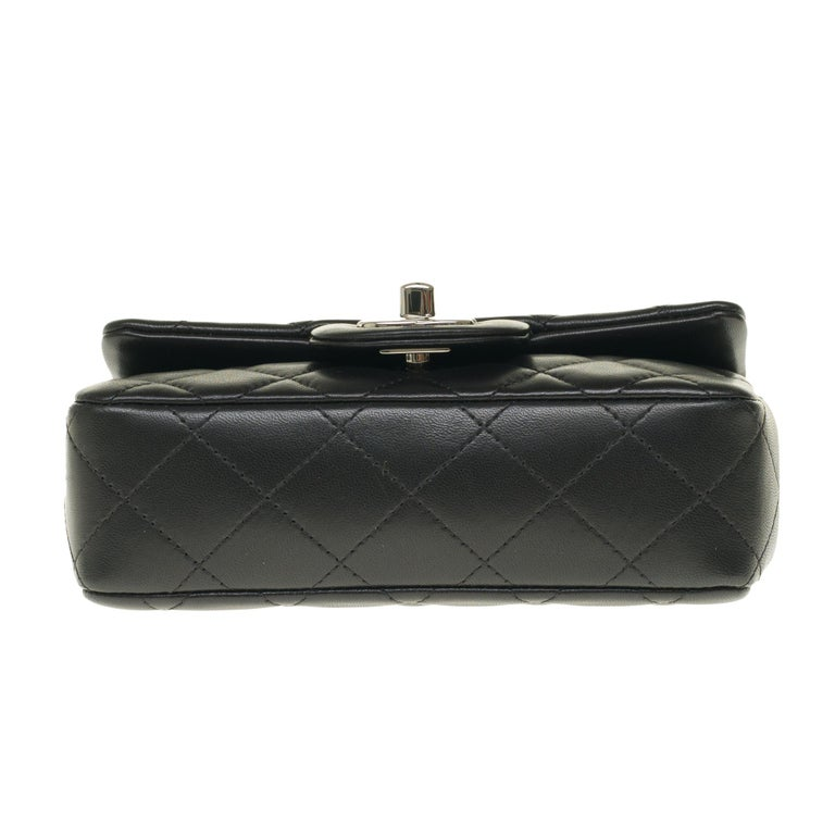 Chanel Mini square handbag in black quilted leather, Silver hardware For Sale 5