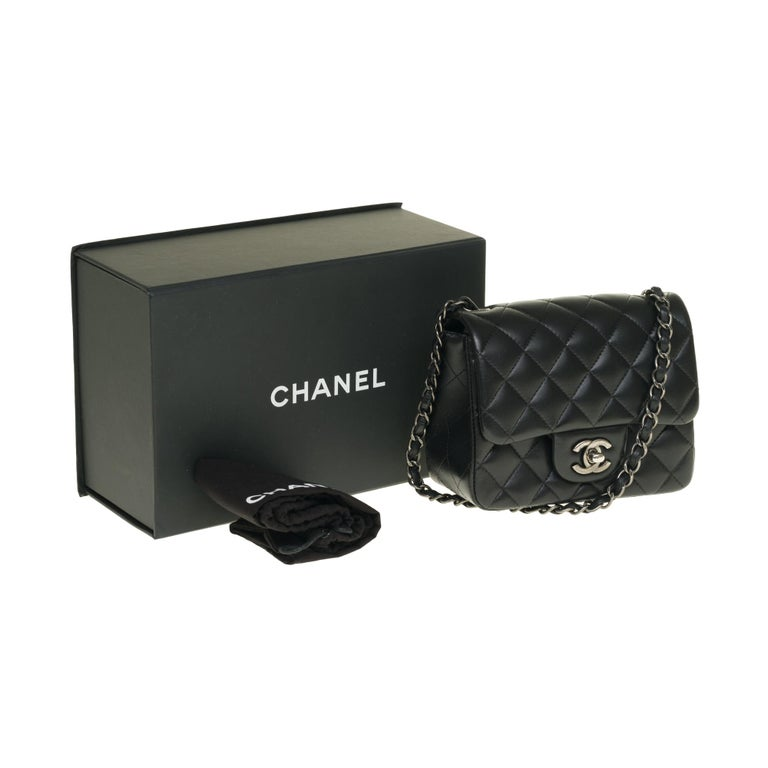 Chanel Mini square handbag in black quilted leather, Silver hardware For Sale 6