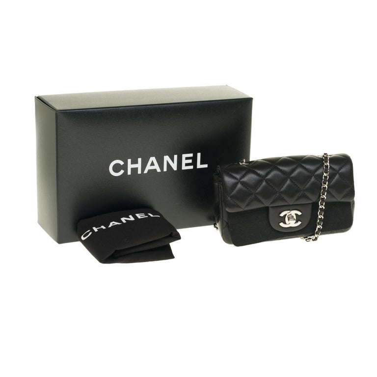 Chanel Mini square handbag in black quilted leather, Silver hardware For Sale 7