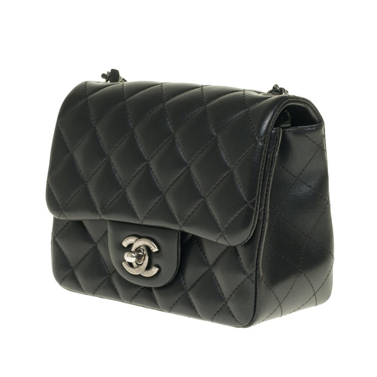 Black Chanel Mini square handbag in black quilted leather, Silver hardware For Sale