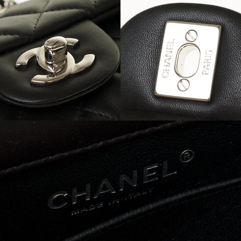 Chanel Mini square handbag in black quilted leather, Silver hardware For Sale 1