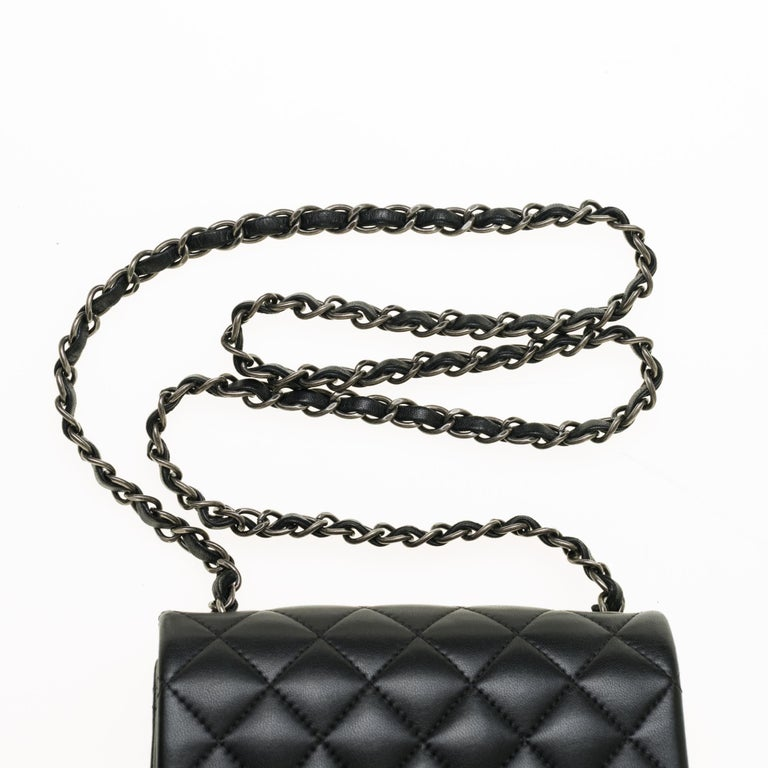 Chanel Mini square handbag in black quilted leather, Silver hardware For Sale 3