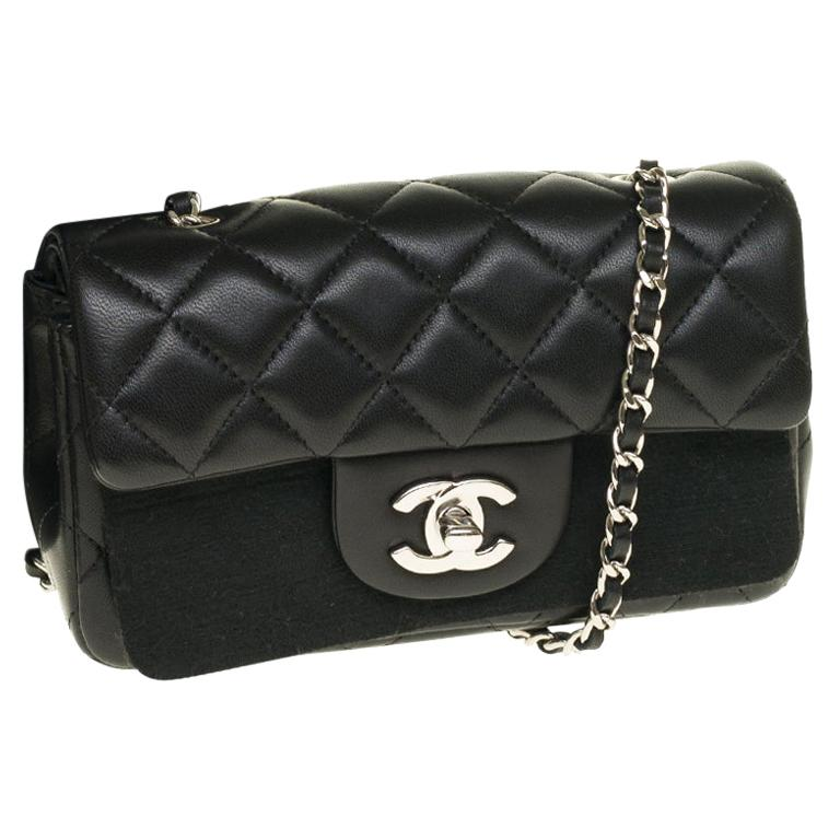 Chanel Mini square handbag in black quilted leather, Silver hardware For Sale