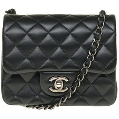 Chanel Mini square handbag in black quilted leather, Silver hardware