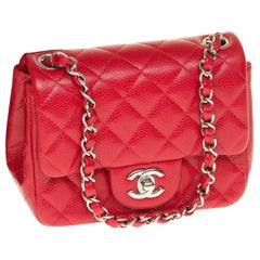 Chanel Mini square handbag in red caviar quilted leather, Silver hardware