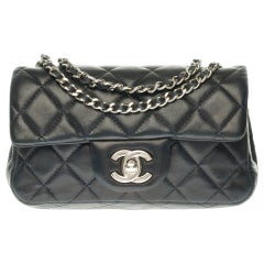 Chanel Mini square shoulder bag in black quilted leather, Silver hardware