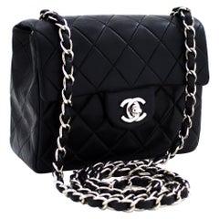 CHANEL Mini Square Silver Chain Shoulder Crossbody Bag Black