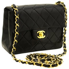CHANEL Mini Square Small Chain Shoulder Crossbody Bag Black Flap