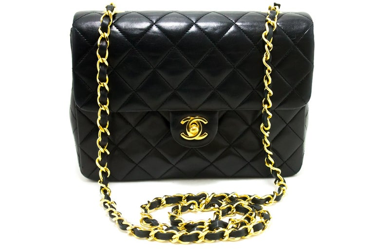 bf1b433a8482ed An authentic CHANEL Mini Square Small Chain Shoulder Bag Crossbody Black.  The color is Black