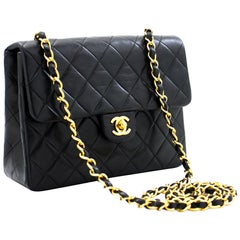 CHANEL Mini Square Small Chain Shoulder Crossbody Bag Black