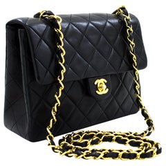 CHANEL Mini Square Small Chain Shoulder Crossbody Bag Black Lamb Leather