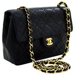 CHANEL Mini Square Small Chain Shoulder Crossbody Bag Black Lamb Leather