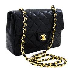 CHANEL Mini Square Small Chain Shoulder Crossbody Bag Black Purse Leather