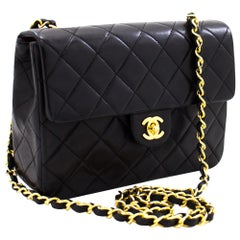 CHANEL Mini Square Small Chain Shoulder Crossbody Bag Black Quilt