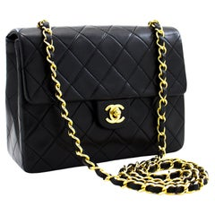 CHANEL Mini Square Small Chain Shoulder Crossbody Bag Black Quilt