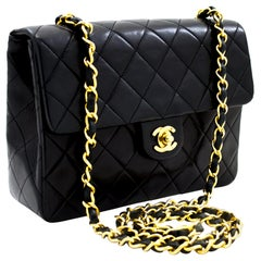 CHANEL Mini Square Small Chain Shoulder Crossbody Bag Black Quilt Leather
