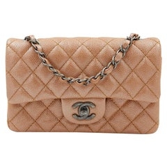 CHANEL Mini Timeless Bag in Beige Caviar Leather