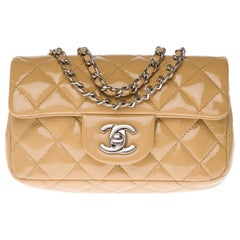 Chanel Mini Timeless Shoulder bag in beige quilted patent leather and SHW