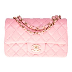 Chanel Mini Timeless Shoulder bag in Pink quilted leather and silver hardware