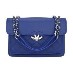 CHANEL Mini Urban Companion Flap Bag Blue Caviar with Silver Hardware 2018