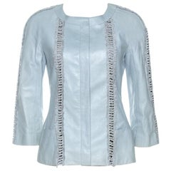 Chanel Mint Blue Leather Fringe Detail Jacket M