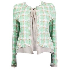 CHANEL mint green viscose cotton Tweed Blazer Jacket 36 XS