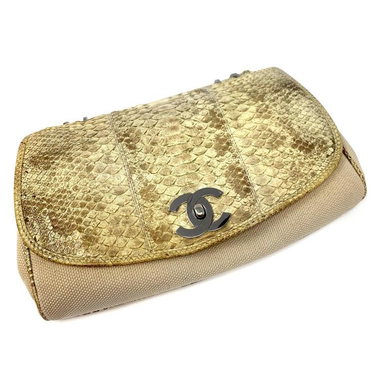 Chanel Mixed Media Snakeskin Flap Bag For Sale 5