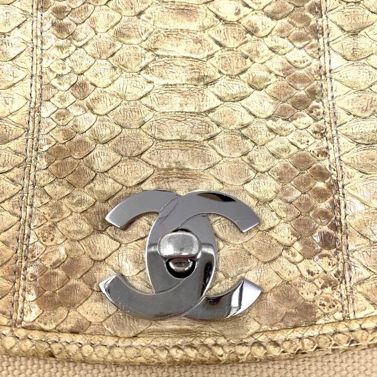 Chanel Mixed Media Snakeskin Flap Bag For Sale 6