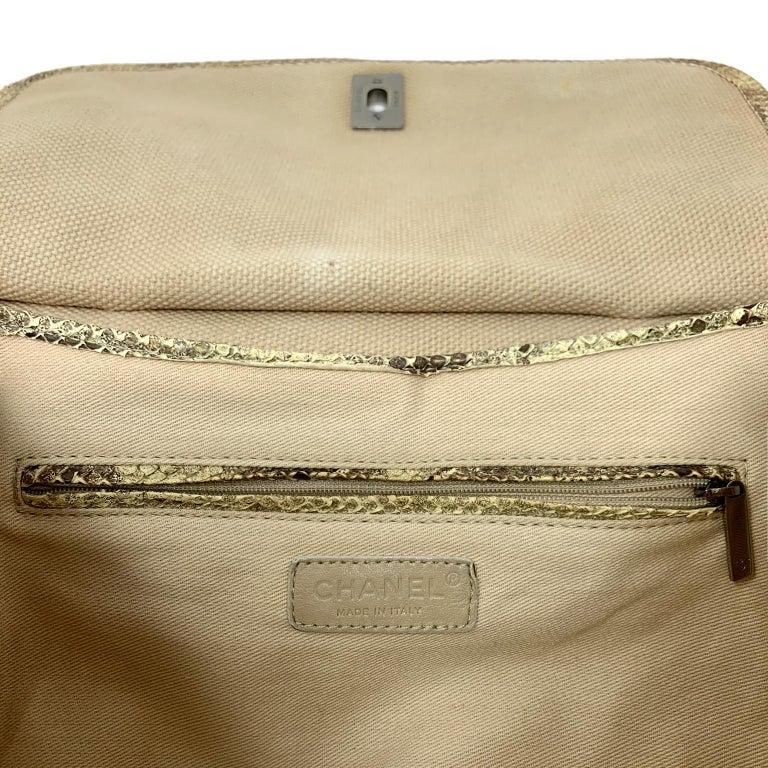 Chanel Mixed Media Snakeskin Flap Bag For Sale 8