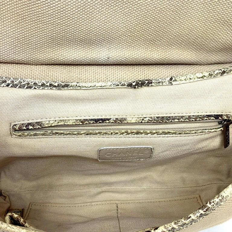 Chanel Mixed Media Snakeskin Flap Bag For Sale 10