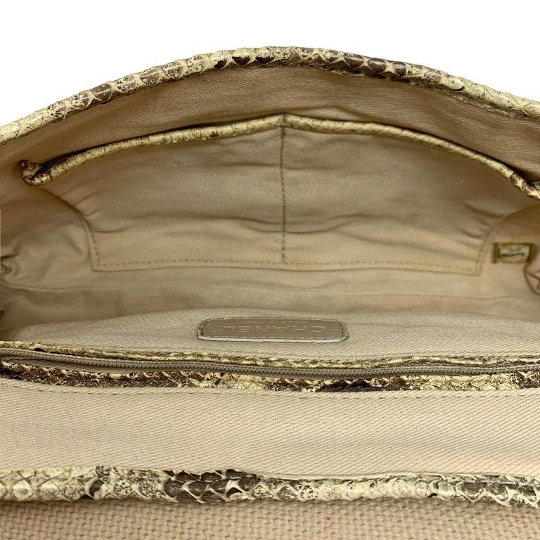 Chanel Mixed Media Snakeskin Flap Bag For Sale 11