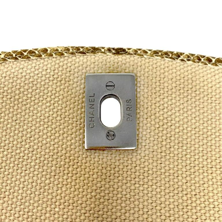 Chanel Mixed Media Snakeskin Flap Bag For Sale 13