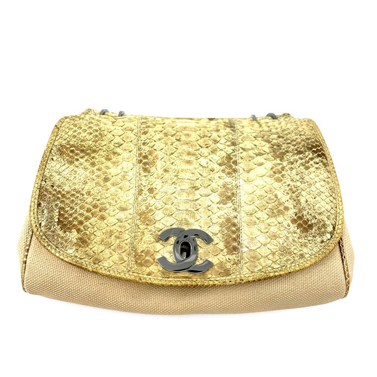 Chanel Mixed Media Snakeskin Flap Bag For Sale 14