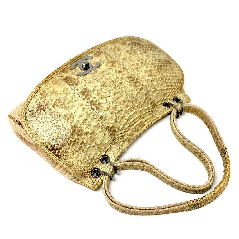 Beige Chanel Mixed Media Snakeskin Flap Bag For Sale