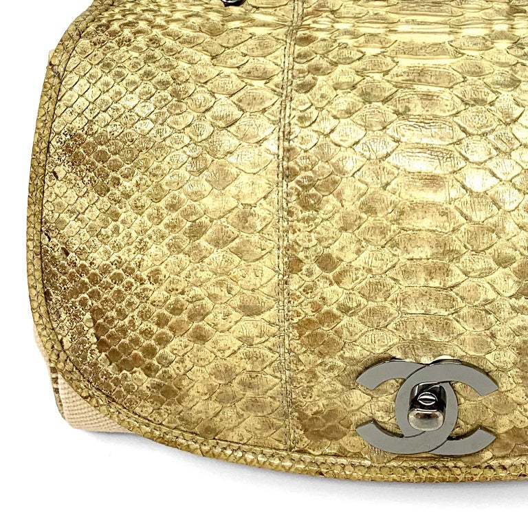 Women's Chanel Mixed Media Snakeskin Flap Bag For Sale