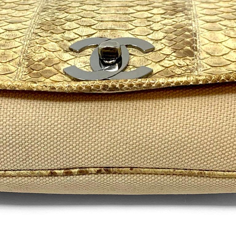 Chanel Mixed Media Snakeskin Flap Bag For Sale 1