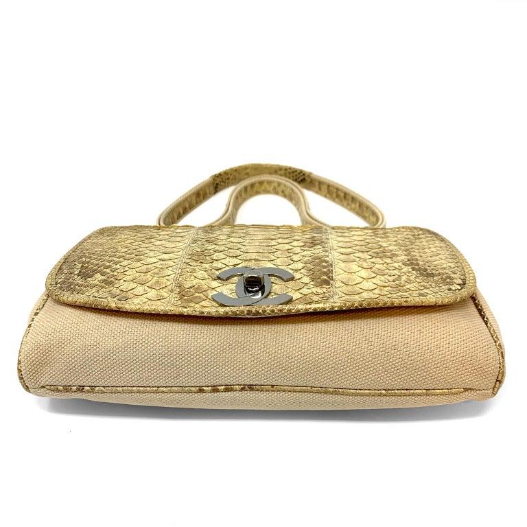 Chanel Mixed Media Snakeskin Flap Bag For Sale 2