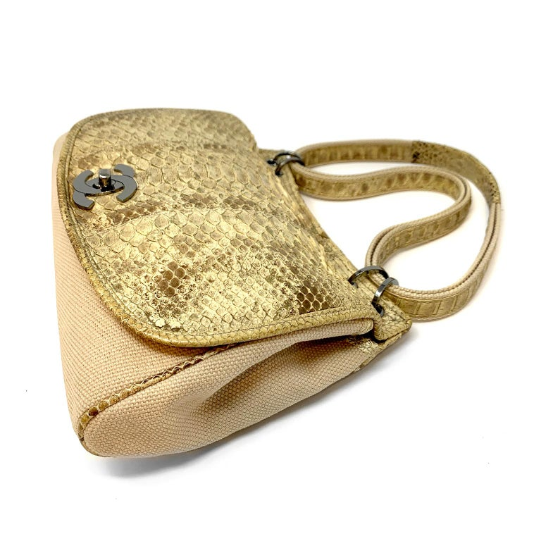 Chanel Mixed Media Snakeskin Flap Bag For Sale 3