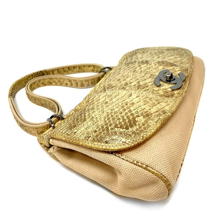 Chanel Mixed Media Snakeskin Flap Bag For Sale 4