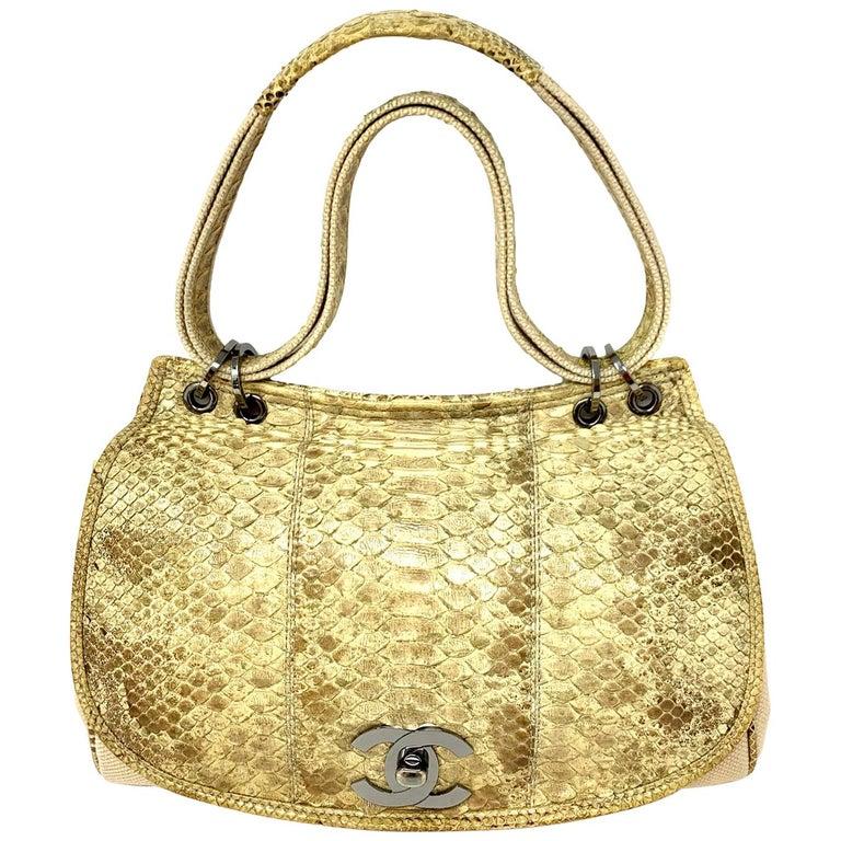 Chanel Mixed Media Snakeskin Flap Bag For Sale